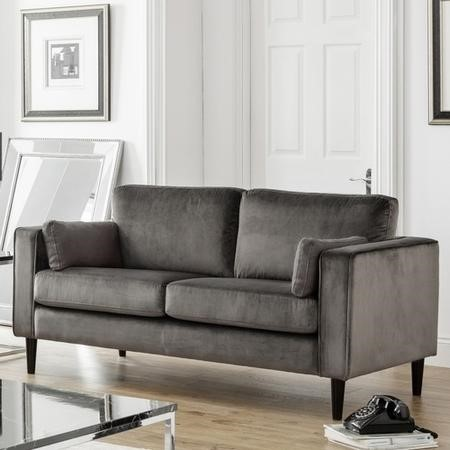 Julian Bowen Hayward Grey Velvet 2 Seater Sofa