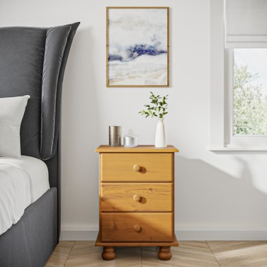 Hamilton 3 Drawer Bedside Table In Pine Furniture123