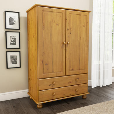 Hamilton 2 door 2 drawer combi short wardrobe in pine Short wardrobe with drawers