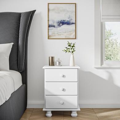 Hamilton White 3 Drawer Bedside Table Furniture123