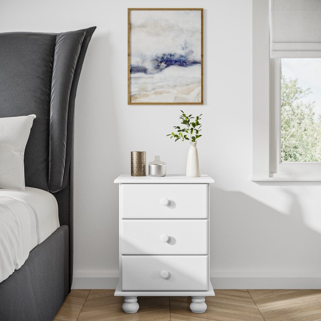 Hamilton White 3 Drawer Bedside Table