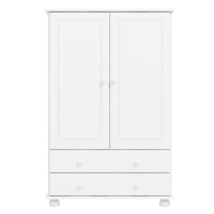 Hamilton 2 door 2 drawer combi short wardrobe in white Short wardrobe with drawers