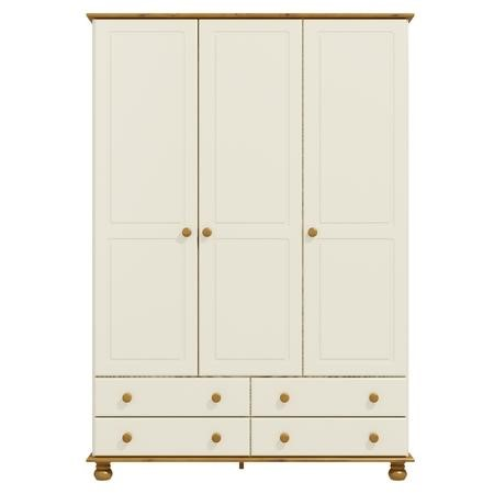 Hamilton 3 Door 4 Drawer Wardrobe in Cream and Pine