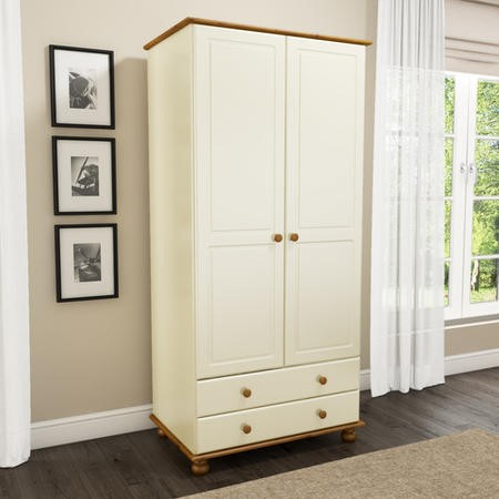 Hamilton 2 Door 2 Drawer Wardrobe in Cream and Pine