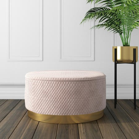 Large Round Pink Quilted Velvet Pouffe - Harley