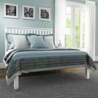 Harper Solid Wood Double Bed Frame in White
