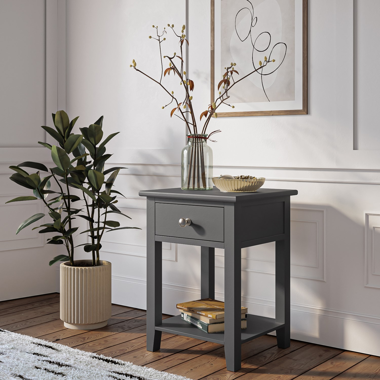 Picture of: Harper Grey Solid Wood 1 Drawer Bedside Table Furniture123