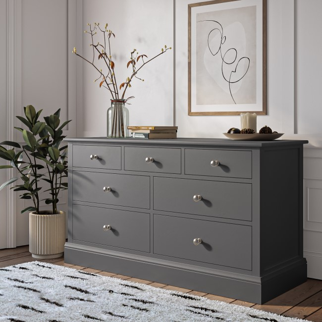 Harper Grey Solid Wood 4+3 Wide Chest of Drawers