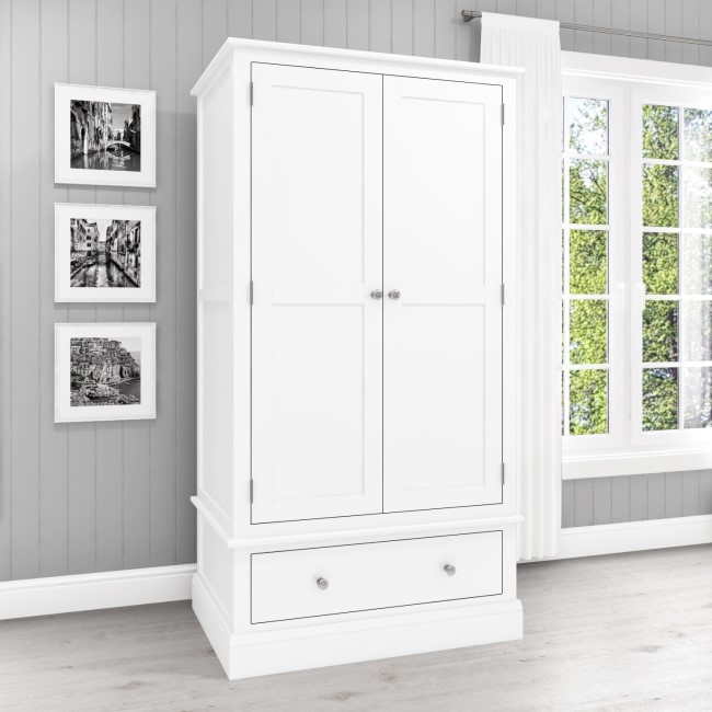 Harper White Solid Wood Double Wardrobe with Drawer