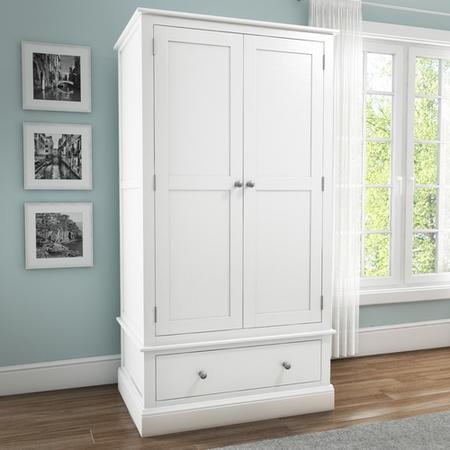 Harper White Solid Wood 2 Door 1 Drawer Wardrobe