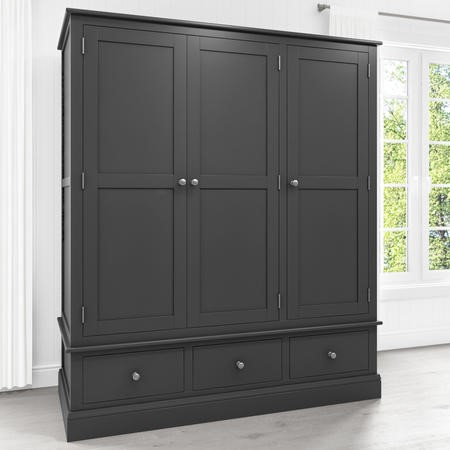 Harper Grey Solid Wood 3 Door 3 Drawer Wardrobe Furniture123