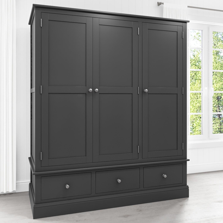 Attrayant Harper Grey Solid Wood 3 Door 3 Drawer Wardrobe