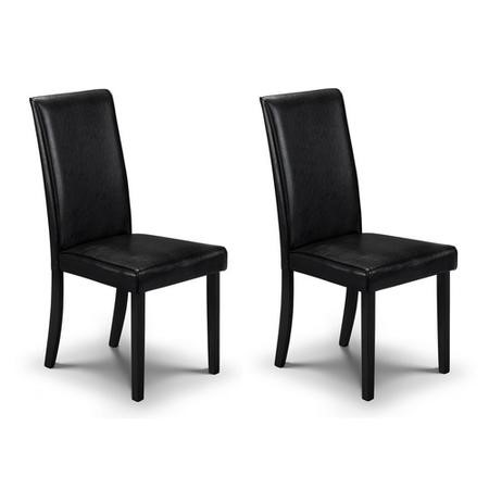 Julian Bowen Hudson Pair of Black Faux Leather Dining Chairs