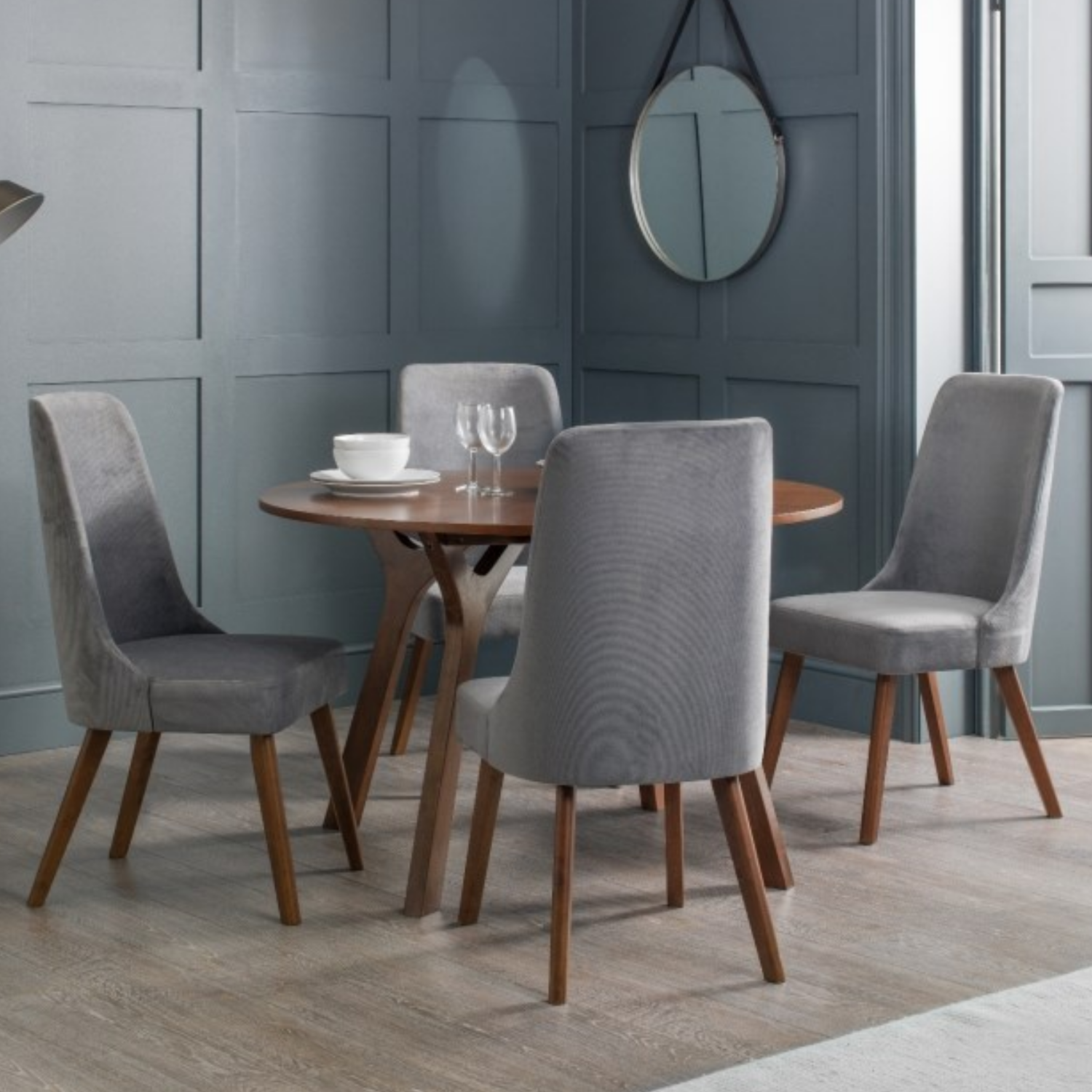Julian Bowen Huxley Walnut Dining Table and 4 Grey Velvet