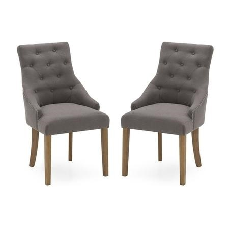 Pair of Dining Chairs in Grey Linen Fabric Dining Chairs - Vida Living
