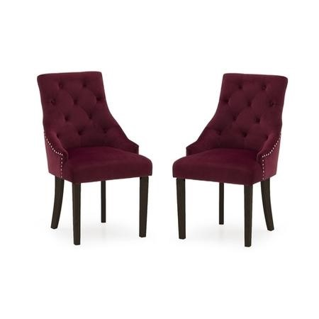 Vida Living Hobbs Pair of Dining Chairs in Crimson Velvet