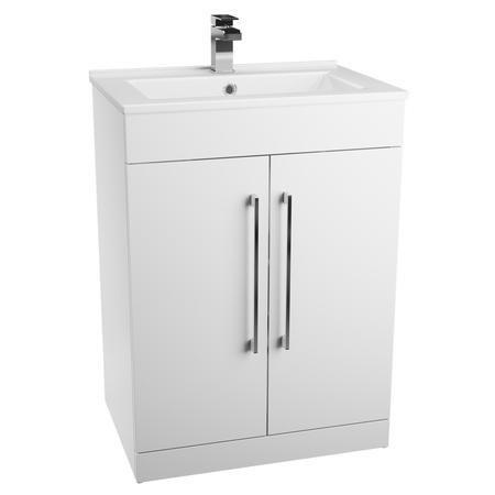 white free standing bathroom 2 door vanity unit without. Black Bedroom Furniture Sets. Home Design Ideas