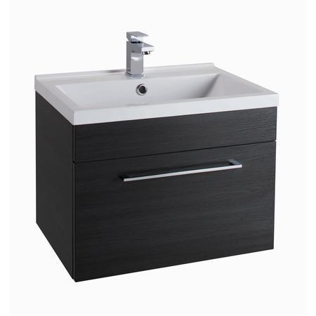 Black Wall Hung Bathroom Vanity Unit - With Basin - W600mm