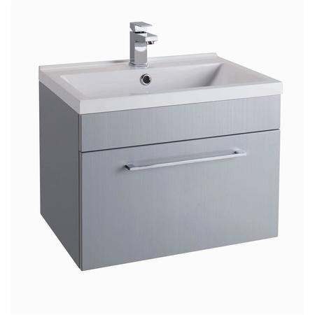 Grey Wall Hung Bathroom Vanity Unit - With Basin - W600mm