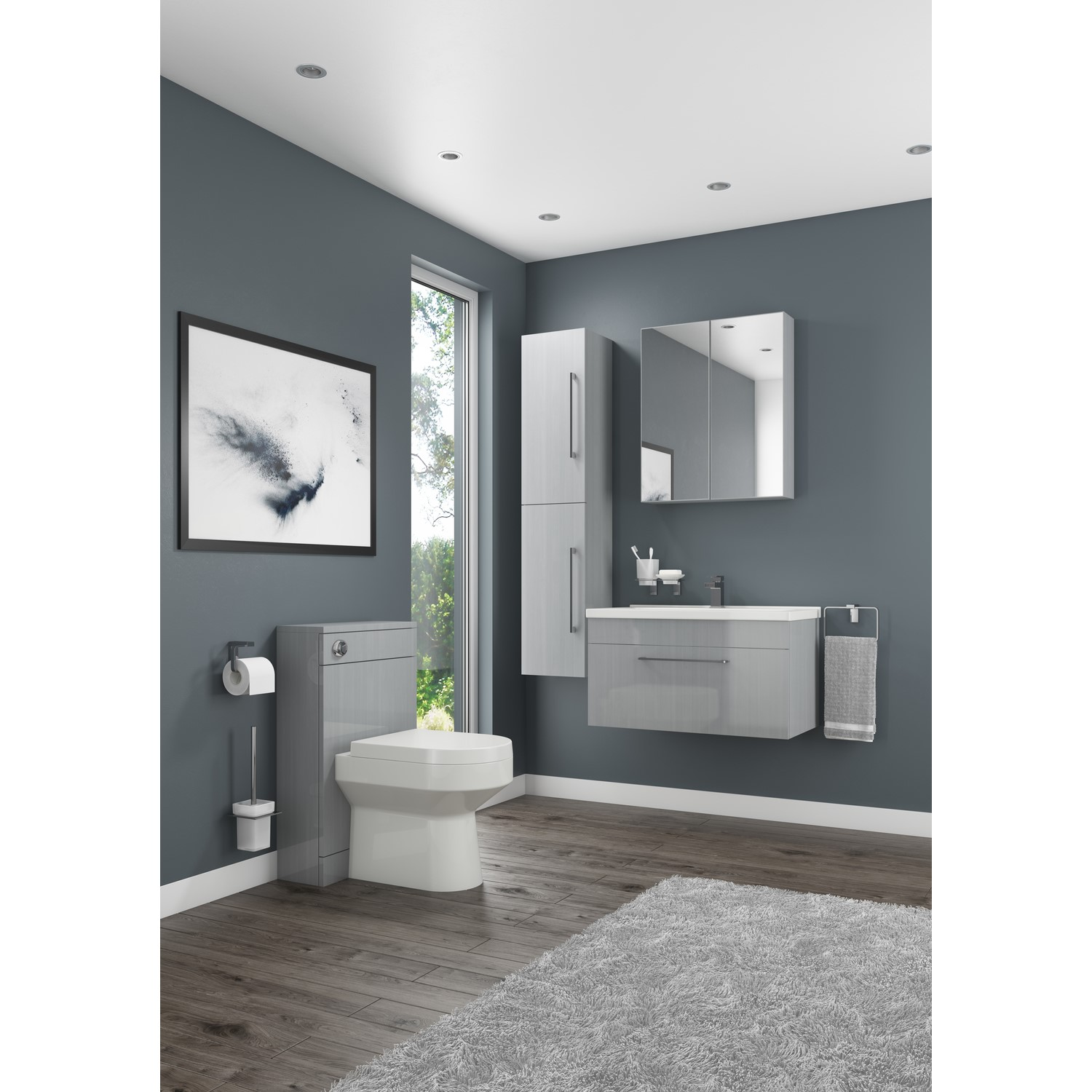 free shipping 87082 880ce Grey Wall Hung Bathroom Vanity Unit - Without Basin - W600mm