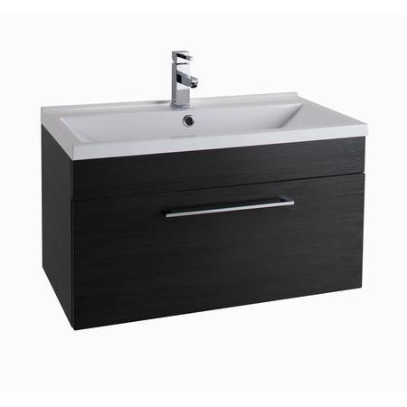 Black Wall Hung Bathroom Vanity Unit - Without Basin - W800mm