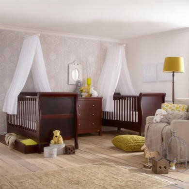 Izziwotnot Bailey Sleigh Cot Bed Mahogany