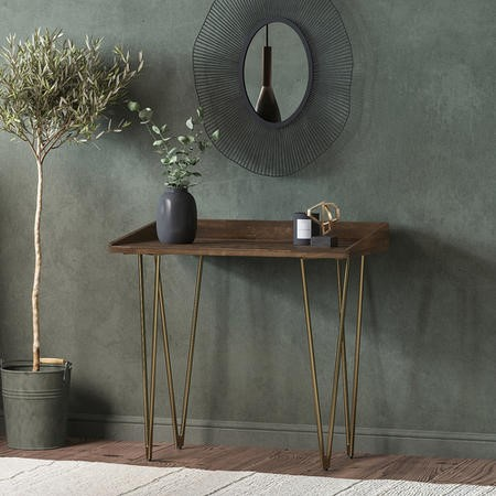 Dark Wood Office Desk with Gold Legs - Inari