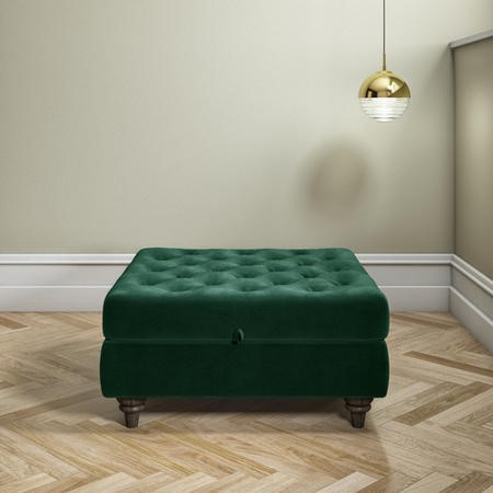 Large Quilted Button Ottoman Pouffe in Green Velvet - Inez
