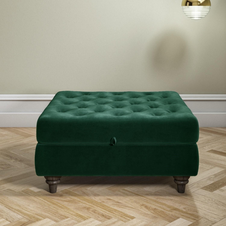 Dark Green Ottoman Storage Footstool Buttoned Inez Furniture123