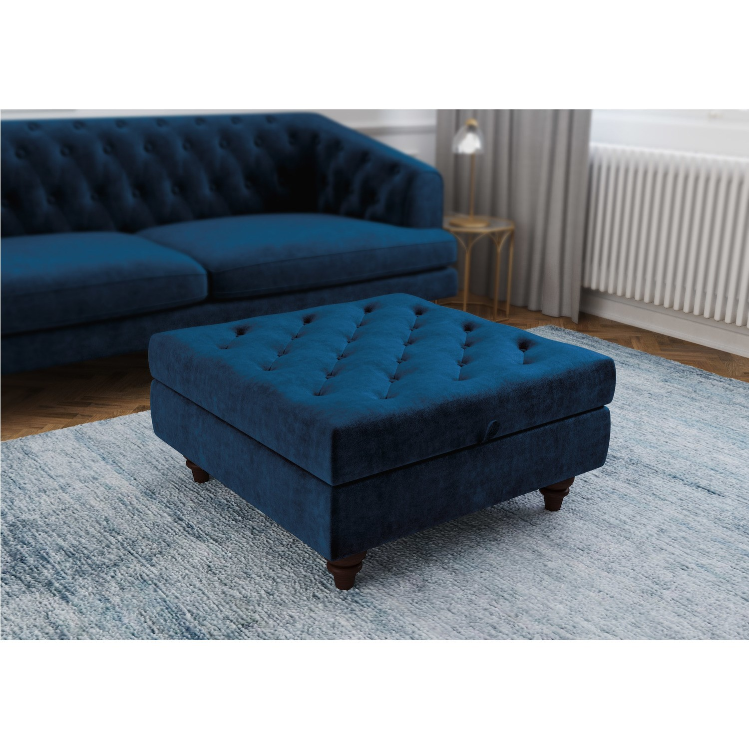 Grade A1 Inez Blue Velvet Ottoman Pouffe With Quilted Buttons Furniture123