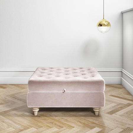 Large Quilted Button Ottoman Pouffe in Light Pink Velvet - Inez