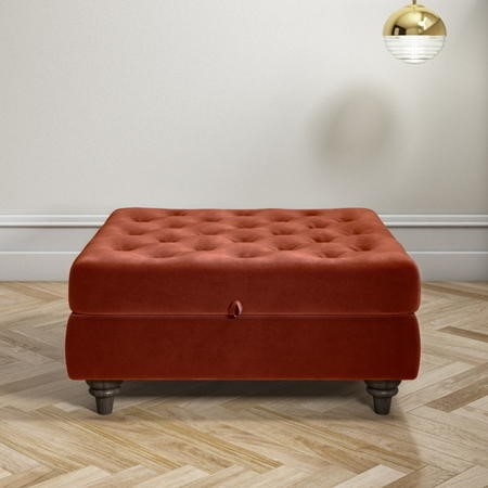 Burnt Orange Ottoman Storage Footstool - Buttoned - Inez