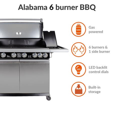 The Alabama Elite 6 Burner Gas BBQ In Stainless Steel  - Includes BBQ Cover and Utensil Set