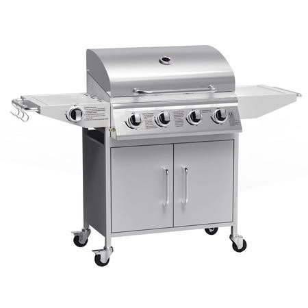 The West Virginia Classic 4 Burner Gas BBQ with Side Burner - Includes BBQ Cover and Utensil Set