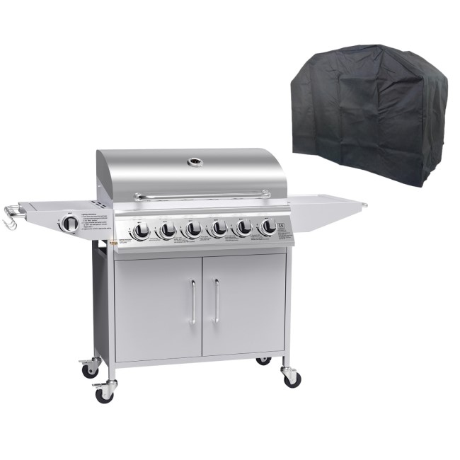 The Georgia Classic - 6 Burner Gas BBQ with Side Burner in Silver