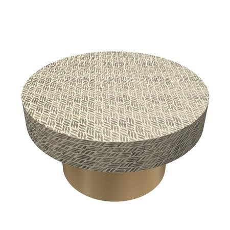 Gold & White Round Patterned Coffee Table - Iris