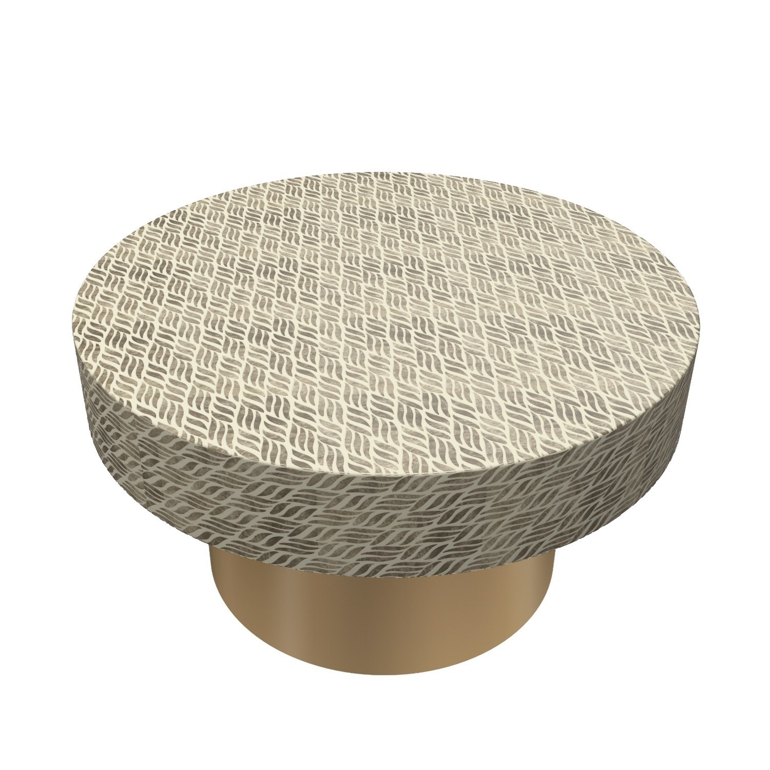 Gold & White Round Patterned Coffee Table  Iris