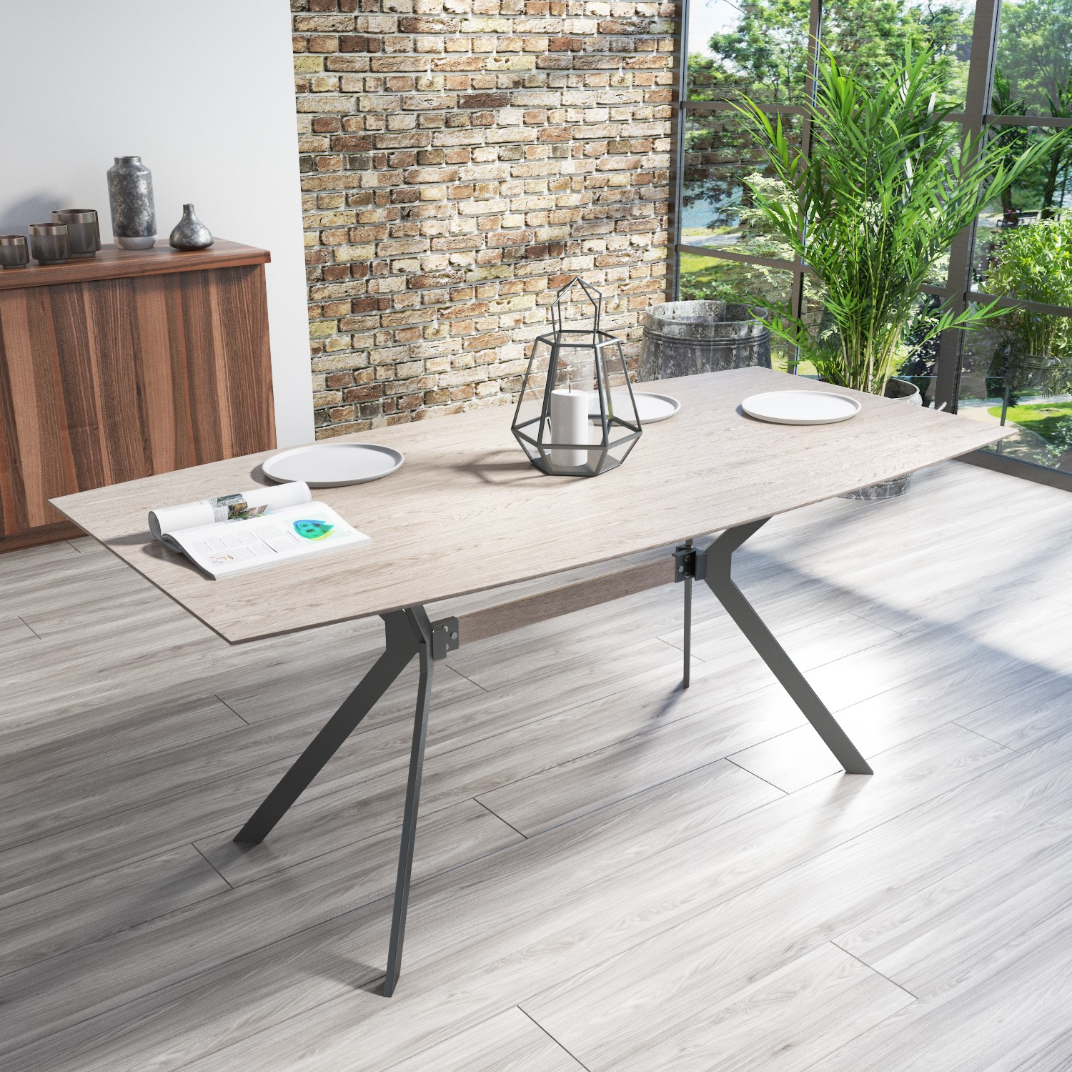 Issac Industrial Reclaimed Effect Wood Top Dining Table
