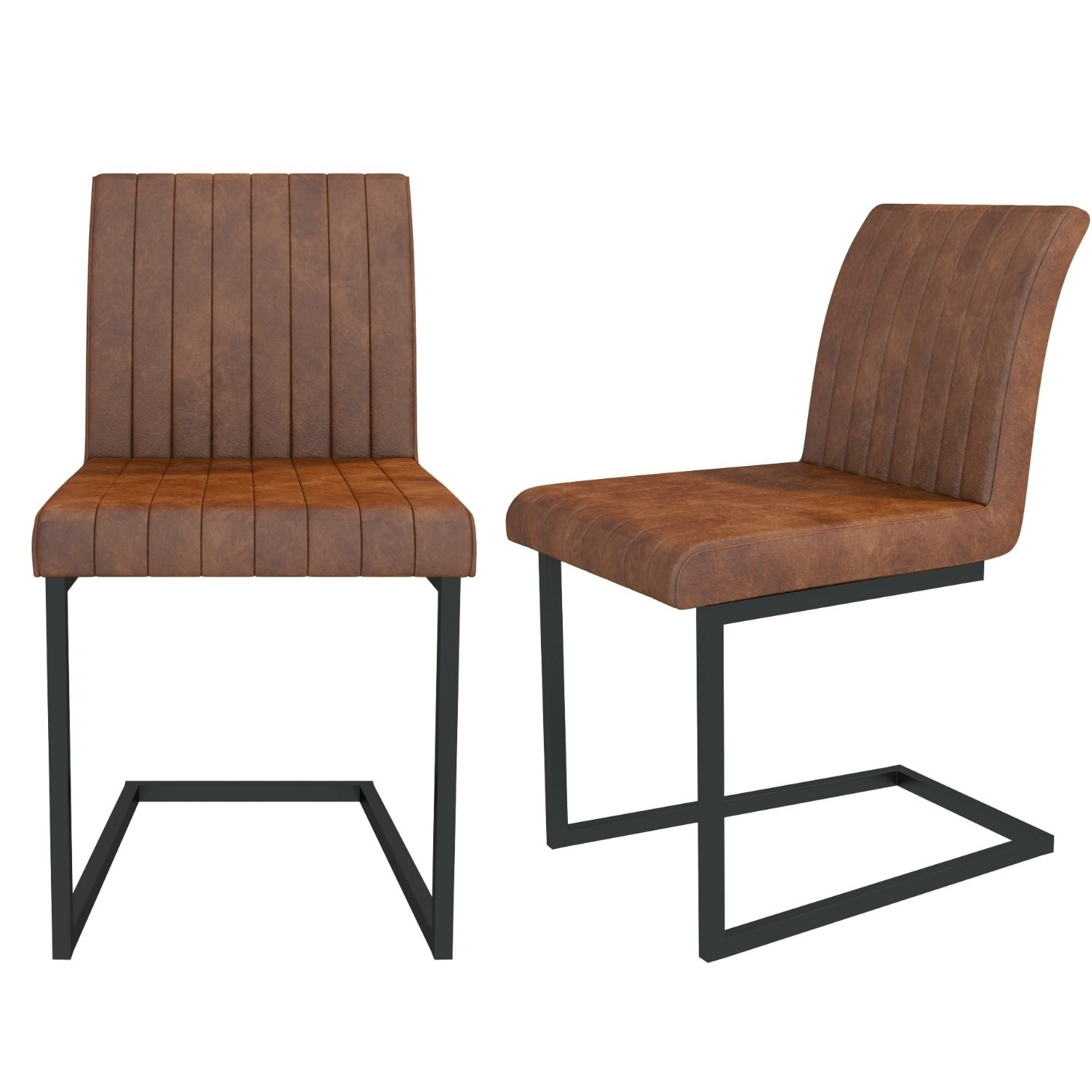 Pair Of Tan Leather Dining Chairs With Metal Frame Isaac
