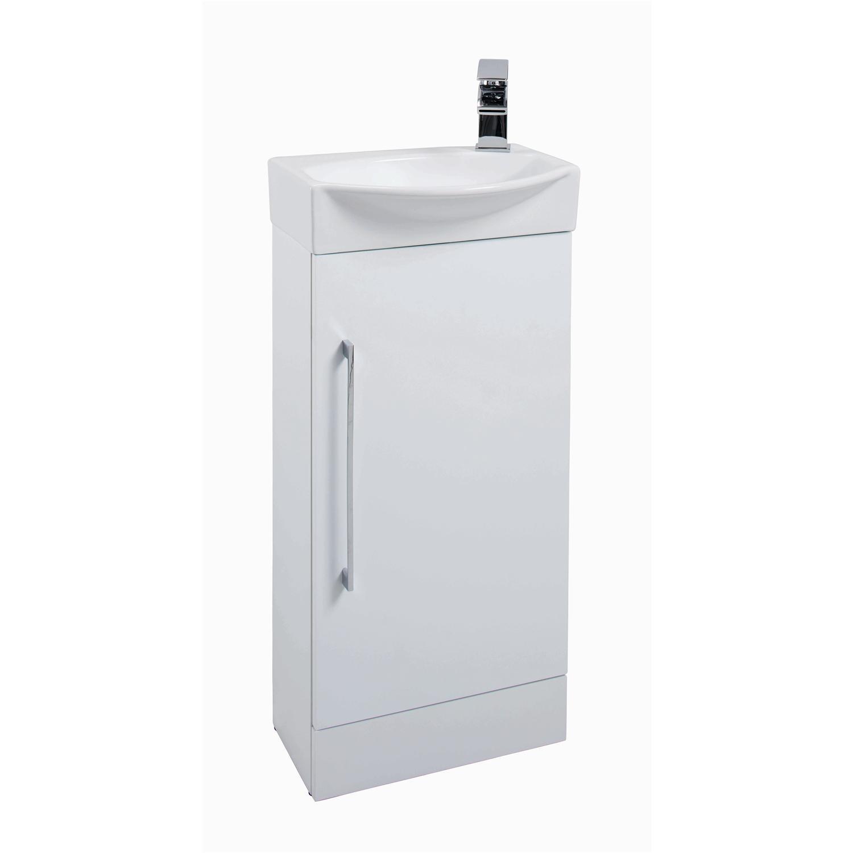 White Mini Cloakroom Vanity Unit & Round Basin  W408mm