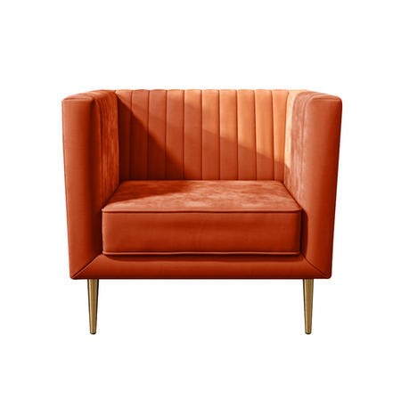 Square Velvet Armchair in Orange & Gold - Ivy