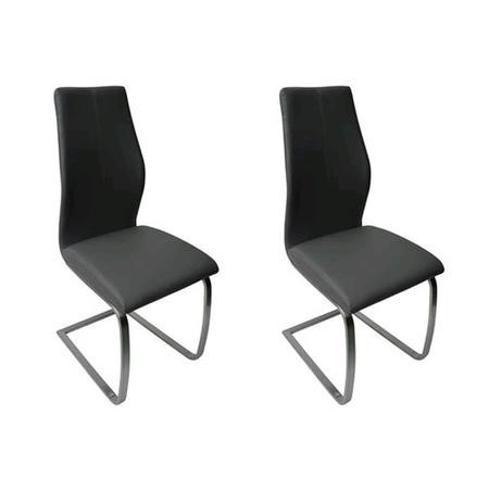 Vida Living Pair of Irma Cantilever Dining Chairs in Black Faux Leather