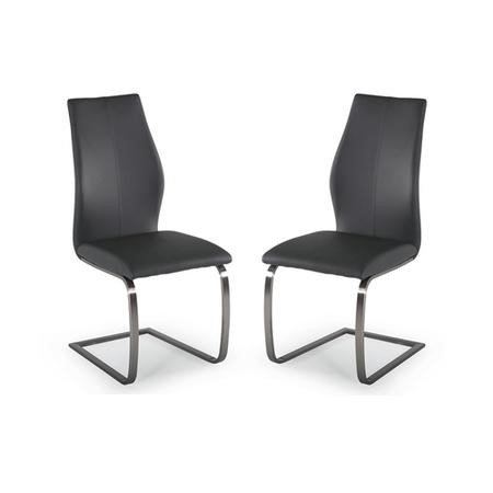 Vida Living Pair of Irma Cantilever Dining Chairs in Grey Faux Leather
