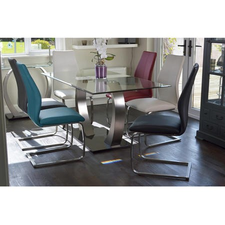 Pair of Irma Cantilever Dining Chairs in Grey Faux Leather