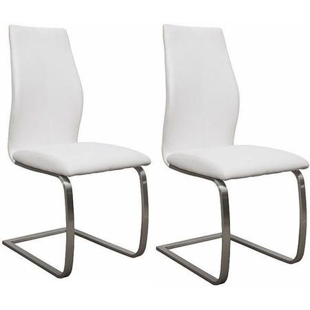 Irma Cantilever Pair of White Faux Leather Dining Chairs- By Vida Living