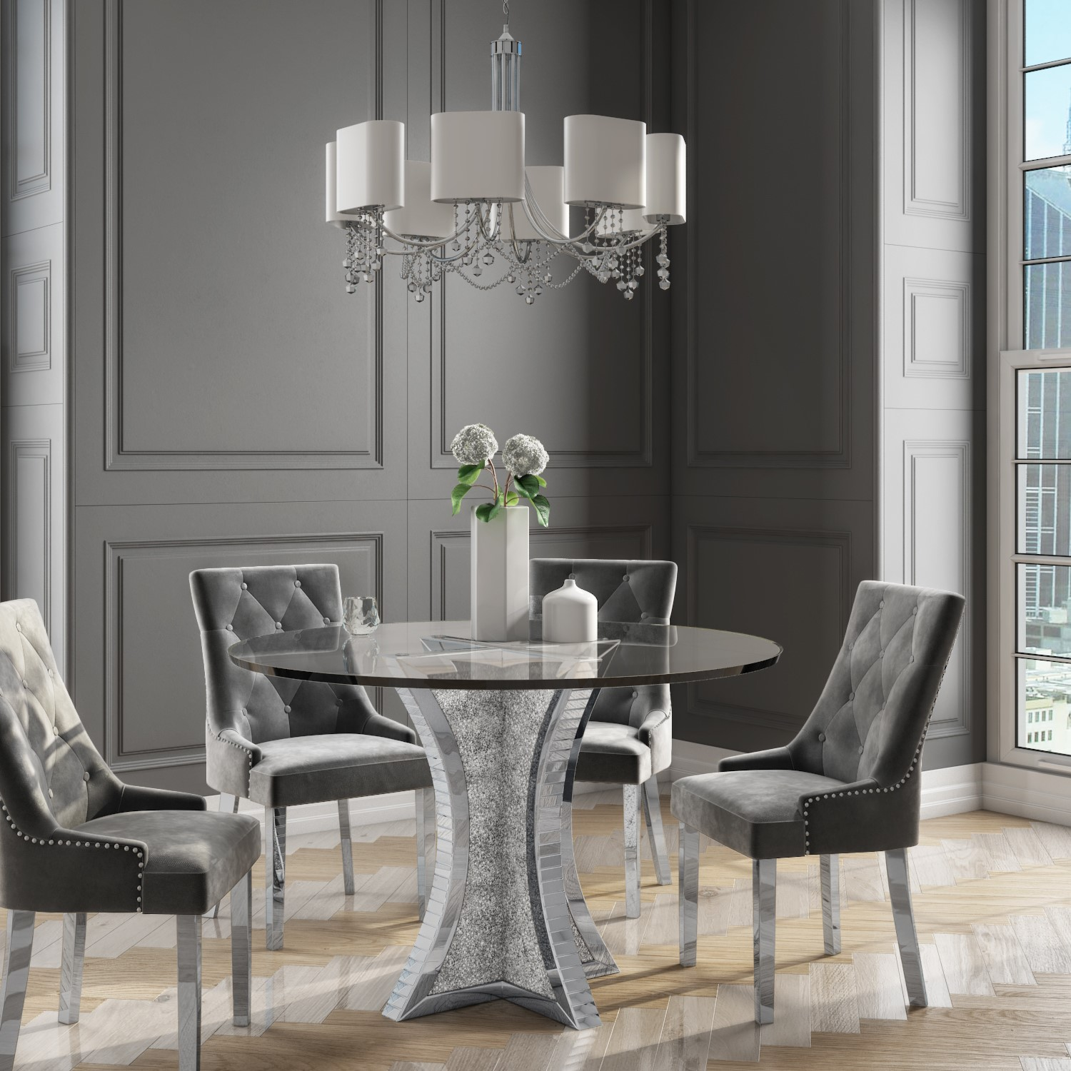 Round Mirrored Dining Table With Glass Top Crushed Diamond Effect Seats 4 Jade Boutique Furniture123