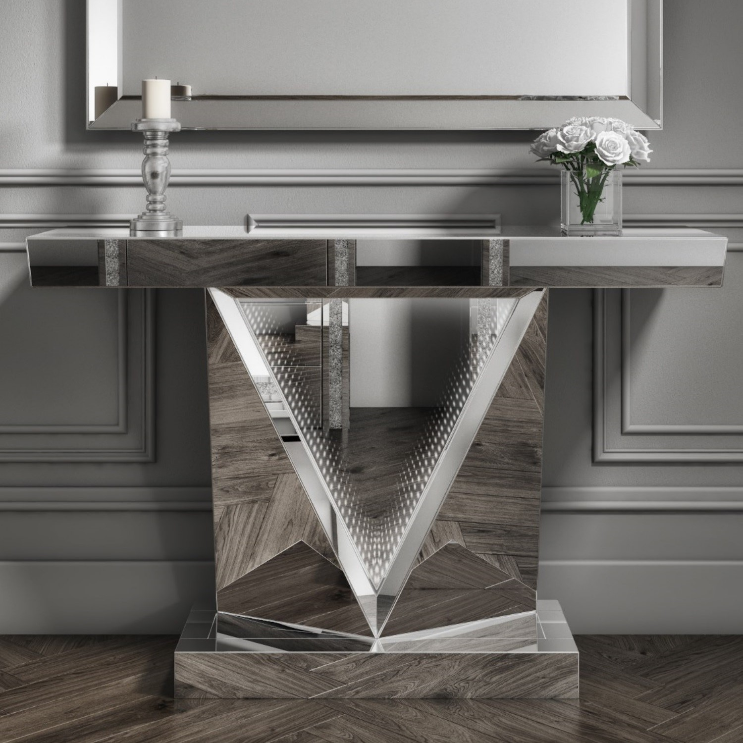 Narrow Mirrored Console Table With Infinity Led Feature Jade Boutique