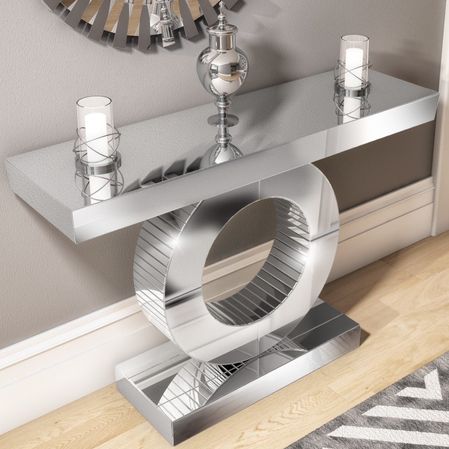 Mirrored Console Table With Panelled Design Jade Boutique Furniture123