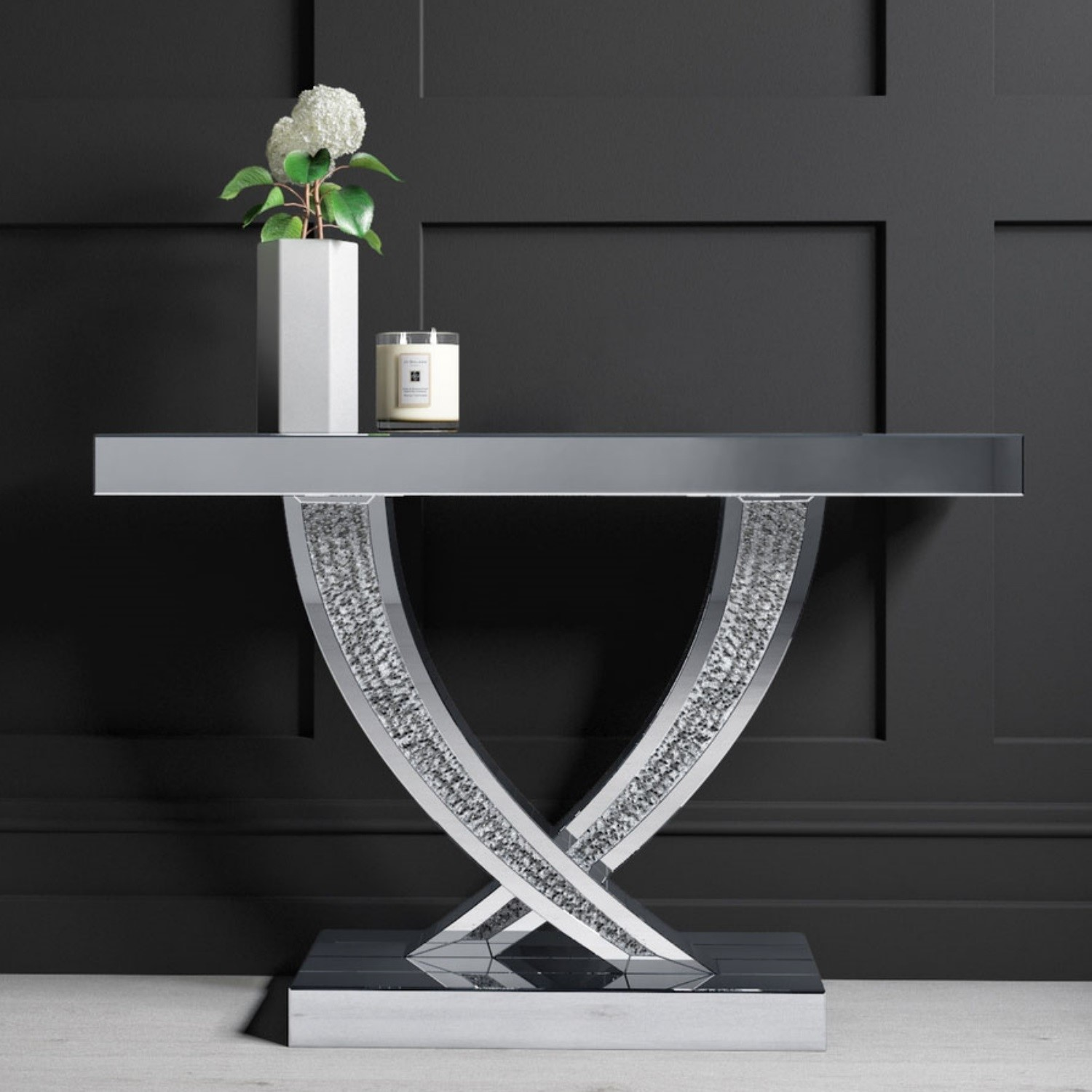 Picture of: Narrow Mirrored Console Table With Crushed Crystal Finish Jade Boutique Furniture123
