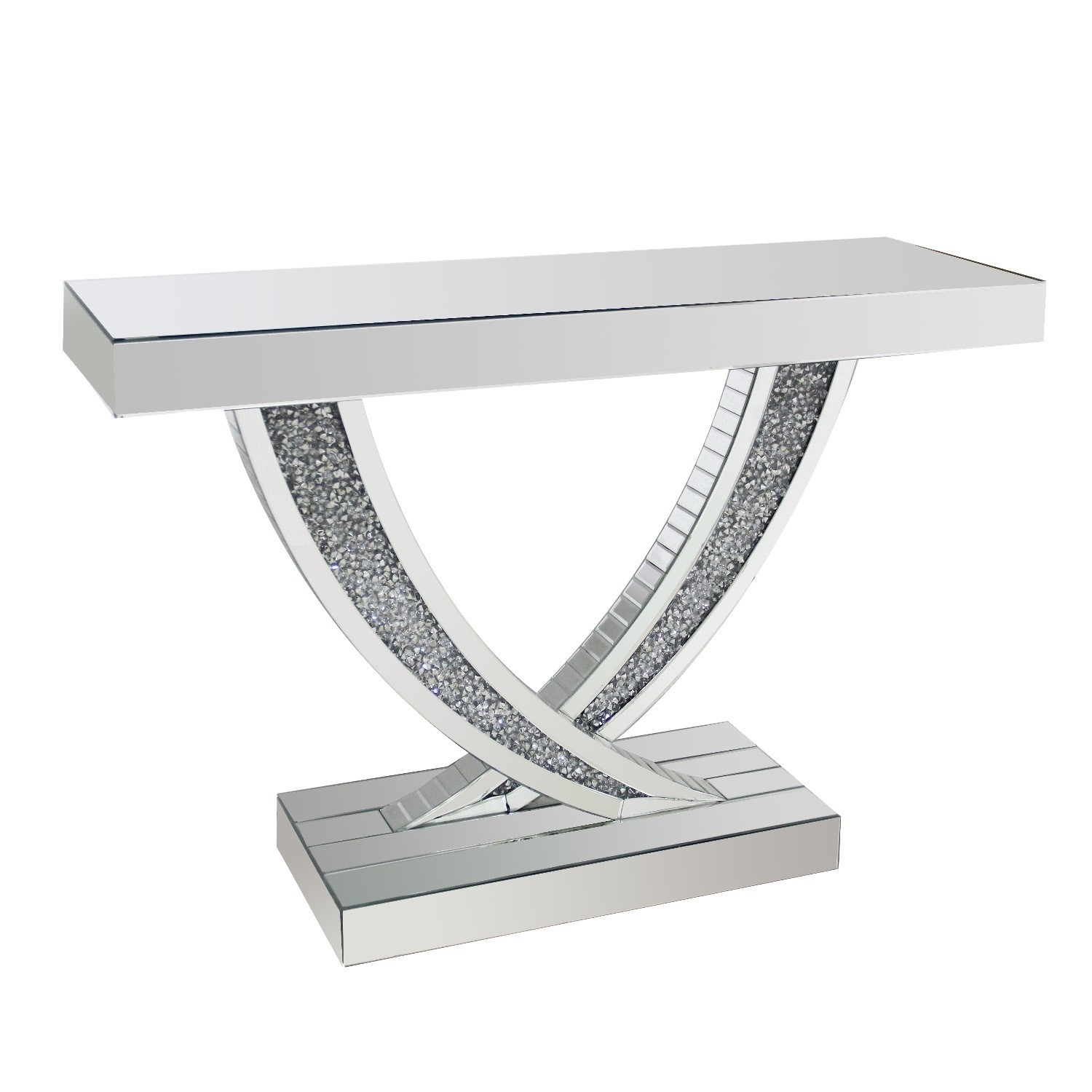 Narrow Mirrored Console Table With Crushed Crystal Finish Jade Boutique Furniture123